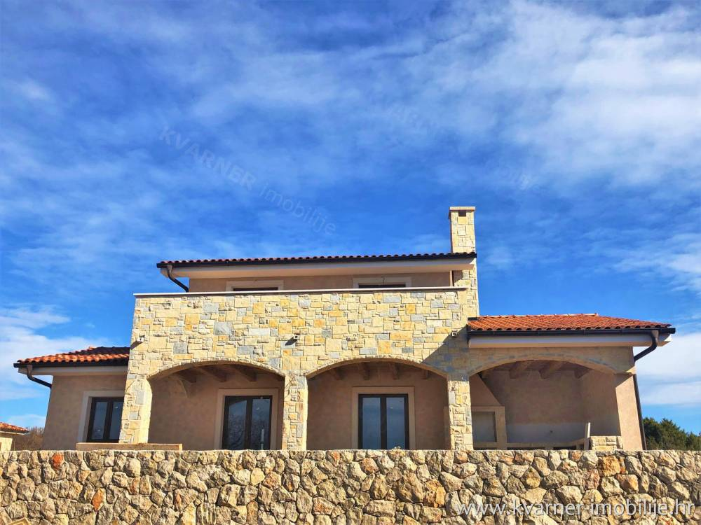 Island Krk-New rustic villa with pool and beautiful sea view!